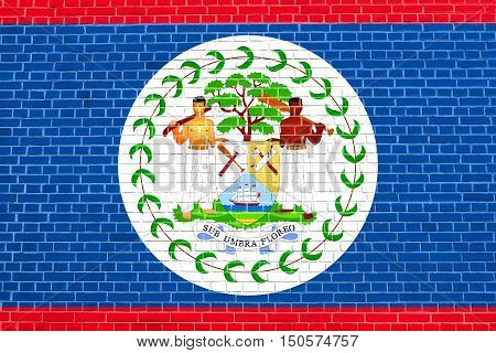 Belizean national official flag. Patriotic symbol banner element background. Accurate dimensions. Correct size colors. Flag of Belize on brick wall texture background, 3d illustration