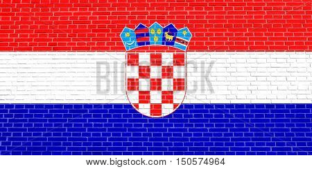 Croatian national official flag. Patriotic symbol banner element background. Accurate dimensions. Correct size colors. Flag of Croatia on brick wall texture background, 3d illustration