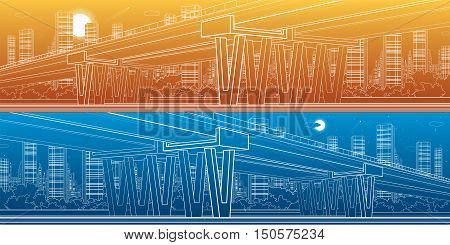 Architectural and infrastructure panorama, transport overpass, highway, big bridge, white lines urban scene, day and night city on background, vector design art