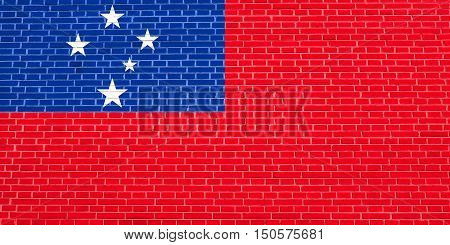 Samoan national official flag. Patriotic symbol banner element background. Accurate dimensions. Correct size colors. Flag of Samoa on brick wall texture background, 3d illustration