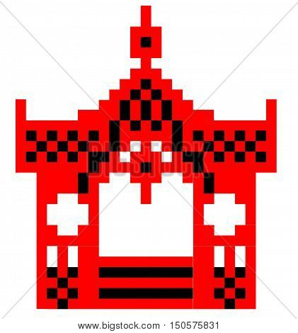 Vector schematic representation of Sumy gazebo.   Vector Image Sumy gazebo can be used to cross-stitch red and black. The image is made up of squares