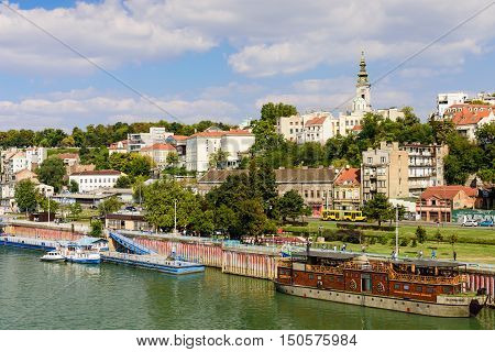 Belgrade, Serbia - September 24, 2016: Panorama of Belgrade with river Sava on a sunny day.