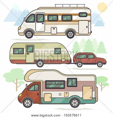 A set of transport vehicles for traveling on the background of different landscapes. Vector illustration of a flat style. Caravan family car for travel and leisure motor home camping van.