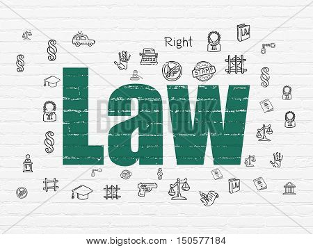 Law concept: Painted green text Law on White Brick wall background with  Hand Drawn Law Icons