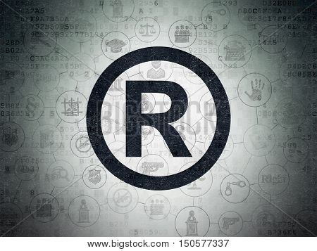Law concept: Painted black Registered icon on Digital Data Paper background with Scheme Of Hand Drawn Law Icons