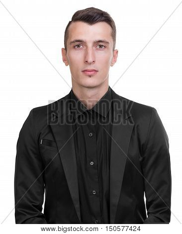 Portrait of a serious businessman isolated on white studio shot