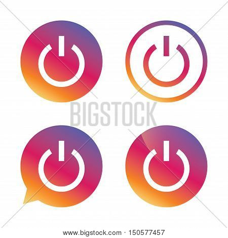 Power sign icon. Switch on symbol. Turn on energy. Gradient buttons with flat icon. Speech bubble sign. Vector