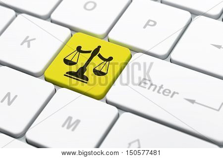Law concept: computer keyboard with Scales icon on enter button background, selected focus, 3D rendering