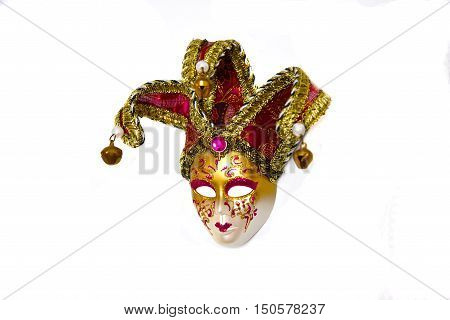 Venice mask with clipping path isolated on white background anonymous