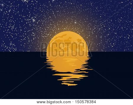 Vector moon over night sea with reflection and stars