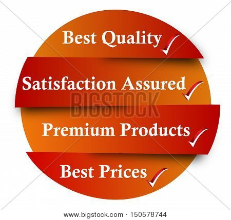 Best Quality, Satisfaction Assured, Premium Products, Best Prices - business infographic