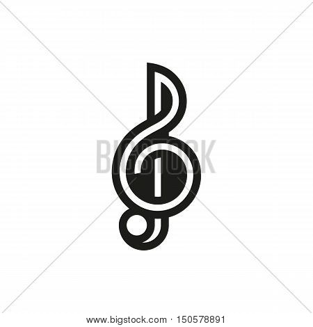 Treble clef icon on white background Created For Mobile Infographics Web Decor Print Products Applications. Icon isolated. Vector illustration