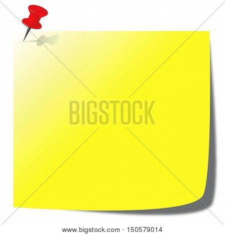 yellow paper note illustration with pin - business communication concept