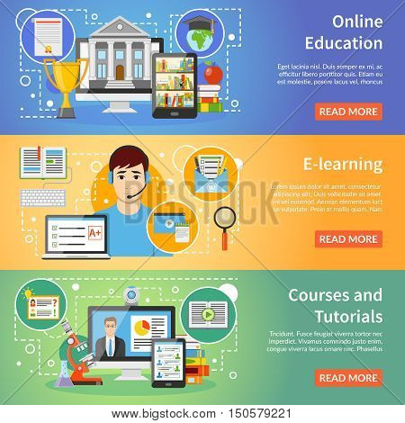 Online education information 3 flat horizontal banners set webpage design with read more button isolated vector illustration