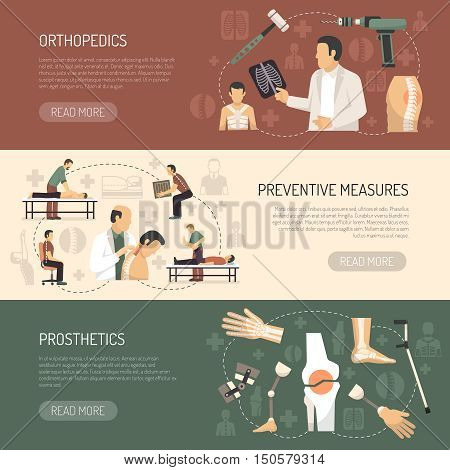 Orthopedics and traumatology horizontal banners with advertising of prosthetics and preventive measures flat vector illustration
