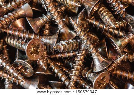 metal screw macro photo, wood screw background