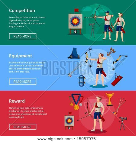 Colorful flat horizontal archery banners with players rewards and necessary equipment for competition isolated vector illustration