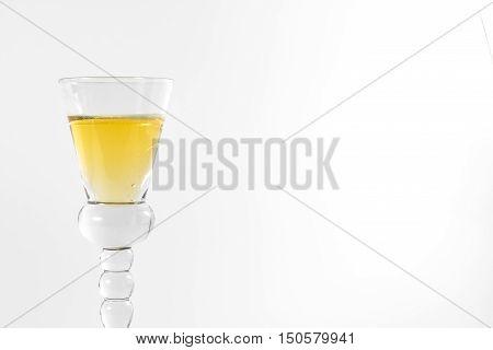 Single Shot Glass Wine Style Isolated White Background Triple Three Together Full Empty Contrast Elegant Fancy Round Stem