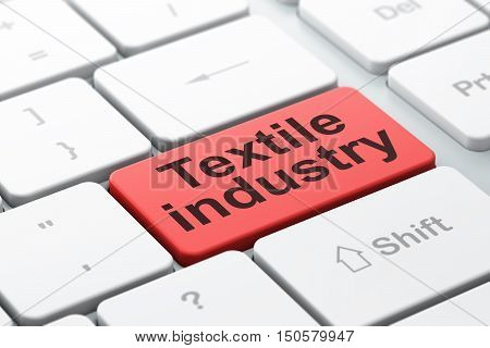 Manufacuring concept: computer keyboard with word Textile Industry, selected focus on enter button background, 3D rendering
