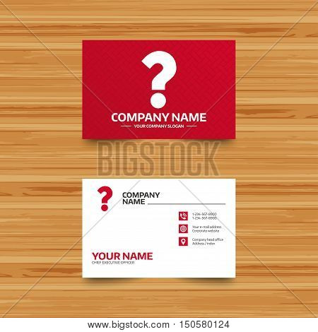 Business card template. Question mark sign icon. Help symbol. FAQ sign. Phone, globe and pointer icons. Visiting card design. Vector
