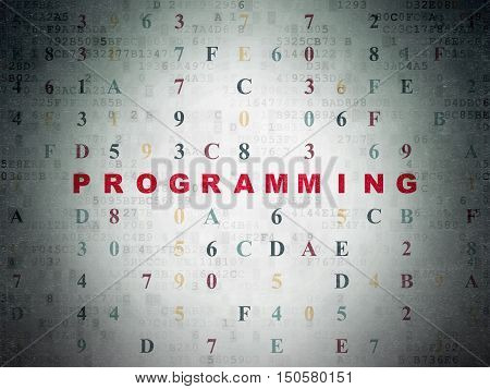 Programming concept: Painted red text Programming on Digital Data Paper background with Hexadecimal Code