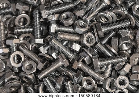 pile of bolts, washers and nuts photo