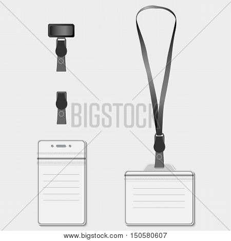 Set of lanyard name tag holder retractor end badge templates. Graphic illustration