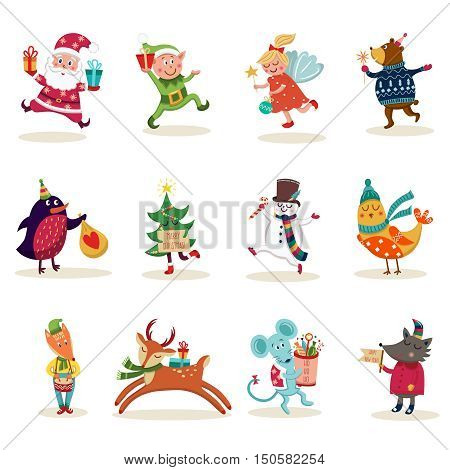 Christmas characters set with decorated tree santa claus and snowman animals elf and angel isolated vector illustration
