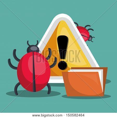 alert sign and informatic virus alert security system. colorful design. vector illustration