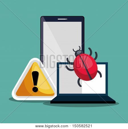 laptop computer and smartphone with informatic virus alert security system. colorful design. vector illustration