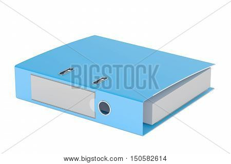 blue ring binder 3D rendering isolated on white background