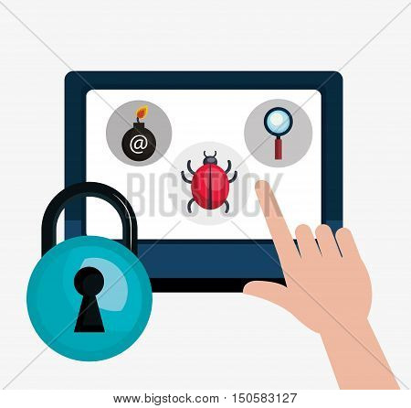 monitor computer with informatic virus and blue padlock. colorful design. vector illustration