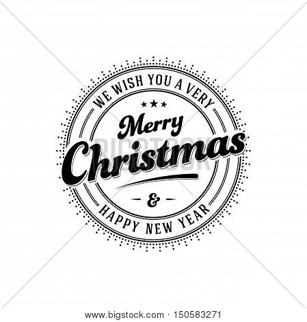 Vintage Merry Christmas And Happy New Year Stamp. Vector illustration