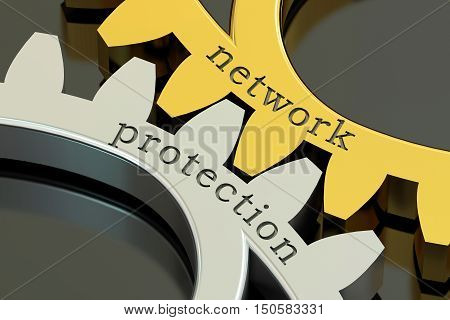 Network Protection concept on the gearwheels 3D rendering