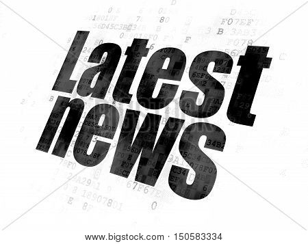 News concept: Pixelated black text Latest News on Digital background
