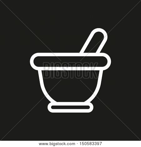 Mortar icon on black background Created For Mobile Web Decor Print Products Applications. Icon isolated. Vector illustration