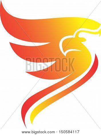 stock logo simple flaming fire of phoenix bird