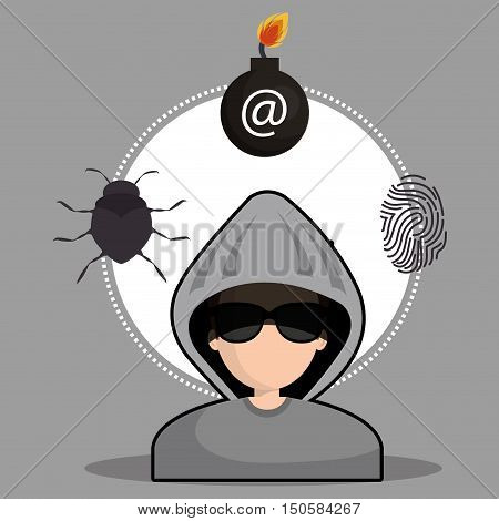 avatar man hacker and informatic alert security system icon set. colorful design. vector illustration
