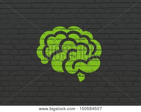 Health concept: Painted green Brain icon on Black Brick wall background