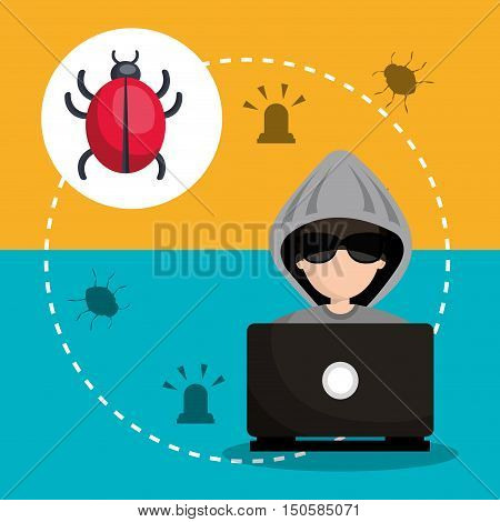 laptop and avatar man hacker with virus alert security system icon set. colorful design. vector illustration