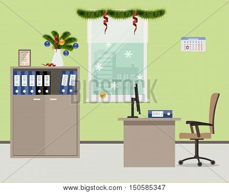 New Year in the office. Workplace of office worker, decorated with Christmas decoration. There is a table, a case, a chair, computer and other objects in beige color on a window background