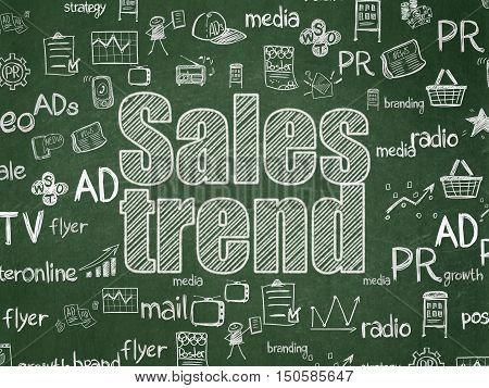 Advertising concept: Chalk White text Sales Trend on School board background with  Hand Drawn Marketing Icons, School Board