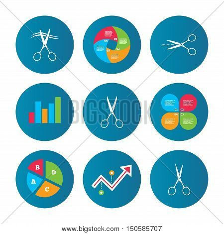 Business pie chart. Growth curve. Presentation buttons. Scissors icons. Hairdresser or barbershop symbol. Scissors cut hair. Cut dash dotted line. Tailor symbol. Data analysis. Vector