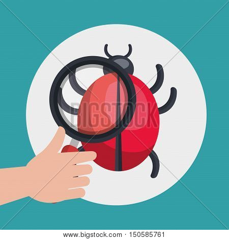 hand holding a magnifying glass and informatic computer virus. colorful design. vector illustration