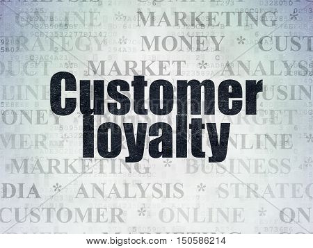 Marketing concept: Painted black text Customer Loyalty on Digital Data Paper background with   Tag Cloud