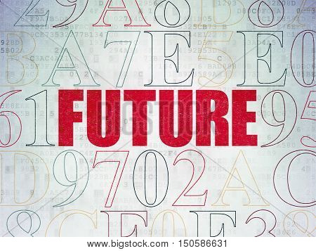 Time concept: Painted red text Future on Digital Data Paper background with Hexadecimal Code