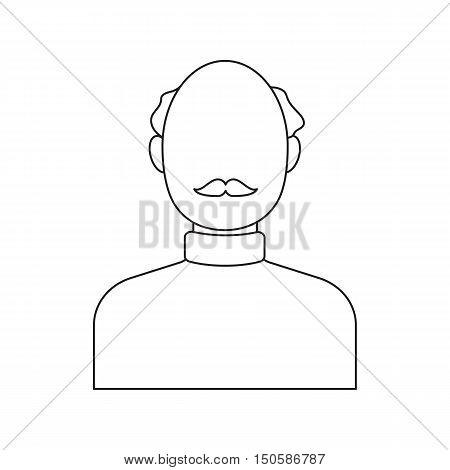 Bald head icon line. Single avatar, people icon