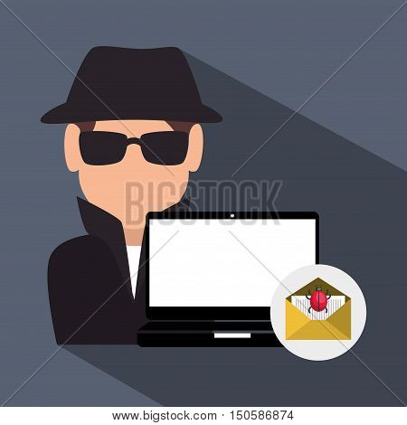 laptop and avatar man hacker and informatic security system design. vector illustration
