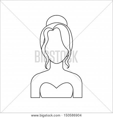 Woman with updo icon line. Single avatar, people icon