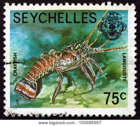 SEYCHELLES - CIRCA 1978: a stamp printed in Seychelles shows Crayfish Astacoidea Freshwater Crustacean circa 1978